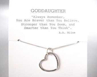 Open Heart Necklace Sterling Silver, GoddaughterGift, Gift for Goddaughter, Goddaughter Jewelry, Goddaughter Necklace