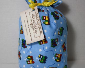 Cloth Gift Bags Fabric Gift Bags Handmade Reusable Eco Friendly Cloth Gift Wrapping Samll Childrens Gift Bag with Trains