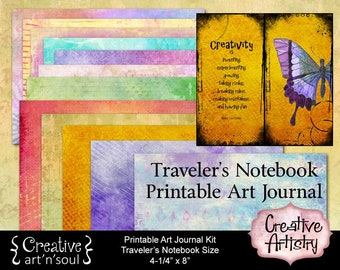 Creative Artistry Printable Traveler's Notebook Art Journal Kit, Midori Traveler's Notebook, Printable Journal, Art Journal