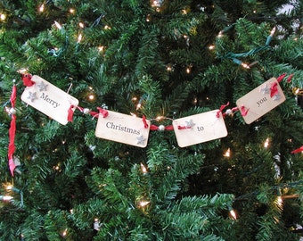 Merry Christmas to you flash card ornament/garland (red)