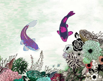 "40""x30"" ""Koi Fish Art, Giclee Fine Art Print, Large Wall Art, Fish Artwork, Colorful Painting"