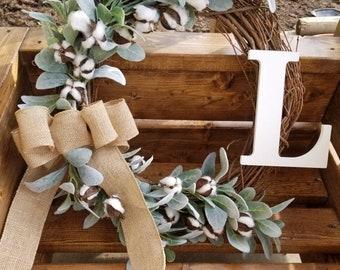 Cotton and Lambs Ear Wreath, Farmhouse Wreath, spring wreath