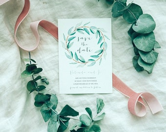 Save The Date Invitation - eucalyptus watercolour hand drawn design