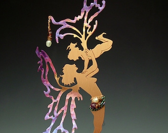 Mother & Child Copper Fairy with Crystal Rainbow Sun Catcher Prism