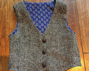Dapper baby boy gray wool vest vintage leather buttons blue paisley lining 18-24