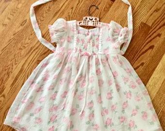 Sheer floral dress, 4T, party dress, flower girl, spring, summer little girl