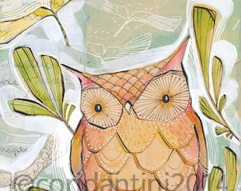 go lightly... an archival owl print 8 x 10 inches by cori dantini