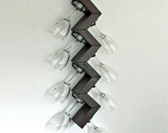 Custom Hanging Stemware Rack | Wall Mounted Wine Glass Holder | Zig Zag Wine Glass Rack Bar Unique
