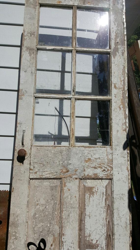 Vintage Wood Door Six 6 Pane Old Wood Door Rustic Wedding Decor