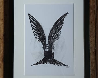 Bird Art Print - Bird Art - Ink Painting - Animal - Swift - Swallow - Orginal Art - Inktober - Ink Drawing - Nature Lover - Wildlife - Fly