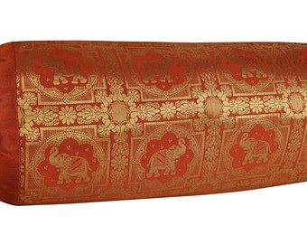 Ethnic Large Cylinder Pillow  Cover Brocade Elephant