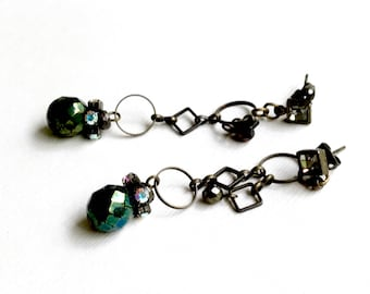 Vintage Brass Chain Rhinestone Dangle  Post  Earrings  Dark Green Glass for Her Under 40, US Free Shipping
