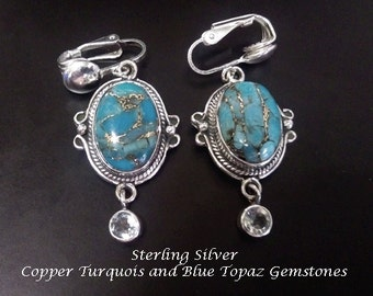 Clip On Earrings: 925 Sterling Silver Earrings with Blue Copper Turquoise Gemstones and Blue Topaz Gemstones |  Clip On Earrings 163