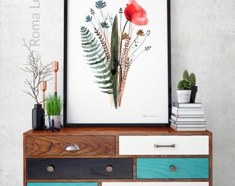 Red poppy flower Watercolor painting Printable poppy flower wall art Watercolor flowers Watercolor poppy Poppy print Wild Flower Bouquet
