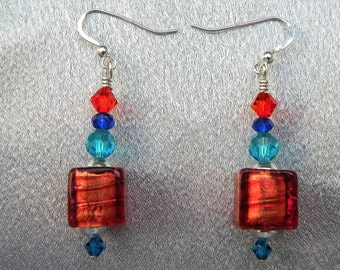 Murano Glass, Rubino Oro Cubes,Venetian Bead Earrings with 24 Karat Gold Foil inside, on Sterling Silver Ear Wires and Multicolored Crystals
