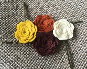 Fall Felt Flower Roses Bronze Bobby Pins - Cream, Mustard, Brown, Burnt Orange - Set of 4