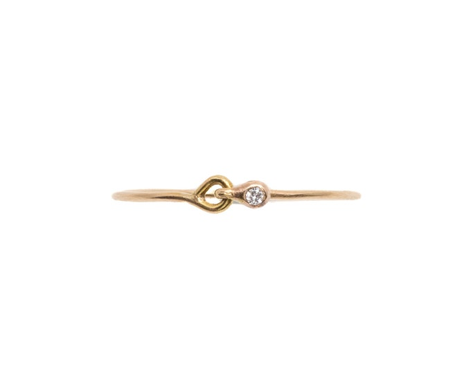 Gold Hooked Diamond Stackable Ring