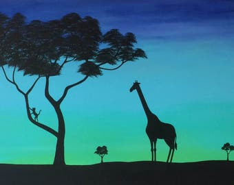 """African Twilight 24""""x48"""" original acrylic painting with a giraffe, monkey, and trees"""