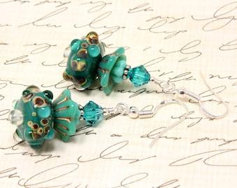 Aqua Lampwork and Floral Earrings - Fountain Earrings - Swarovski Crystals