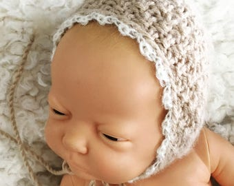 Newborn size knit mohair round back bonnet, photo prop,gift,coming home,gender neutral,knit,crochet