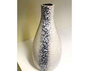 "Spatter Glaze Two Tone Bottle Vase Rough Neck Onion Bulb Shaped Vessel 14"" tall Immediate Visual Appeal"