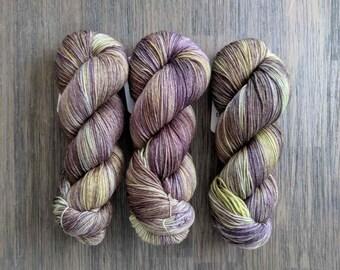 Hand Dyed Yarn - 'Avocado Dreams' - Sock Yarn - Fingering Weight - MCN - purple green  400 yards