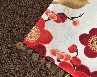 Table Runner, Reversible Floral Red Poppy, Brown, Espresso 100% Cotton