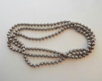 Long Etched Chain Silvertone Vintage Necklace
