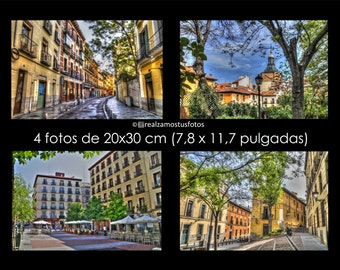 Pictures of Madrid, Spain. 4 pictures 20x30 cm (7.8 '' x 11.7 '') 4 beautiful parts of central Madrid. Artistic photography.