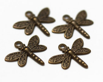 Charms - Lot of 4, Antiqued Copper Dragonfly 13x12mm - JD132