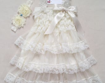 Beach flower girl dress Ivory flower girl lace dress Country flower girl dress Baby girl lace dress First birthday dress Ivory baby dress