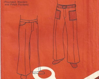 1970s Boys Retro Flared Pants Rounded/Western/Patch/Welt Pockets Back Yoke Elastic in Waistband  Stretch Knit Basic Knits #3 Size 2 4 6 8