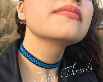 Navy/Turquoise Ribbon Choker