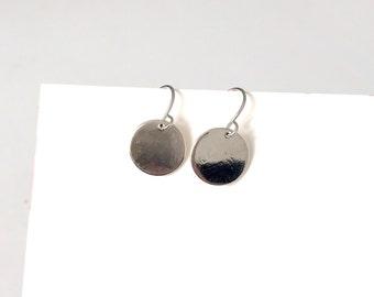 Small disc earrings, simple earrings, minimalist earrings