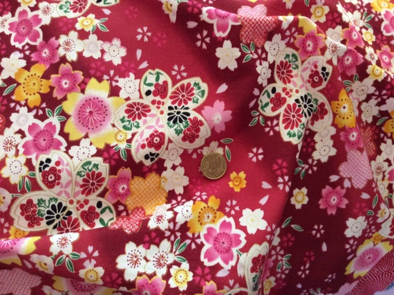 High quality cotton poplin dyed in Japan, Asian print, red