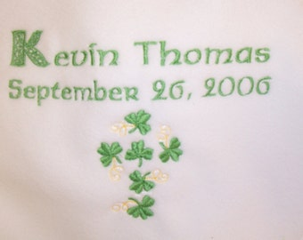 Personalized Irish Baby Blanket Embroidered Crib Gift - Birth, Christening and Baptism