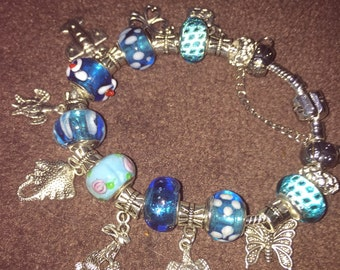 """Silver and turquiose charm bracelet 8"""""""