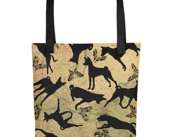 All Over Basenji Dog Basenjis & Butterflies on Vintage Map Background Tote Market Book Bag