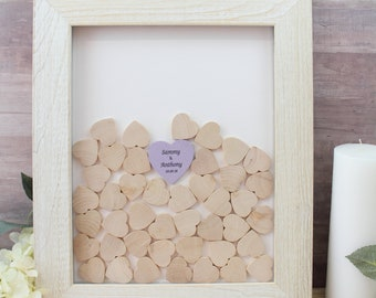 Wedding guestbook alternative -rustic guest book frame box drop Drop in Frame with wood Hearts framed Guest Book