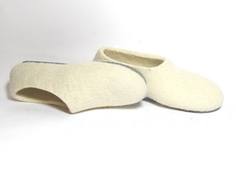 Felt Shoes Felted Slippers Godmother Gift, White Wool Slippers Women, Home Slippers Felt Snow White Party, Handmade Shoes Two Tone