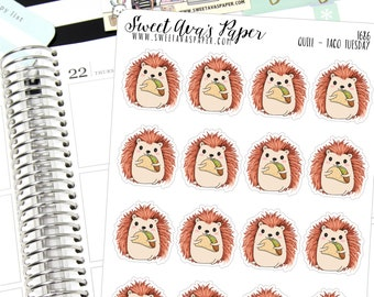 Taco Planner Stickers - Hedgehog Planner Stickers - Taco Tuesday Planner Stickers - Taco Night Stickers - Cheat Day Stickers - 1686
