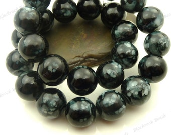 Black with White Spots Round Glass Beads - 12mm Smooth Mottled Painted Beads, Shiny Colorful Bohemian Beads, Speckled Beads - 17pcs - BL26