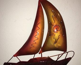 MERMAID and SAIL BOAT Wall Art Stylish Vibrant Colors!  Hang on the wall. Sail Boat or Mermaid