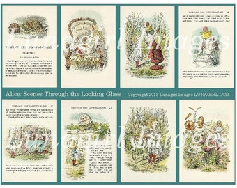 ALICE in WONDERLAND digital collage sheet Victorian vintage images art illustration fairy tale story Looking Glass altered ephemera DOWNLOAD