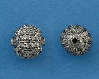 Pave Diamond Bead 8 mm sterling silver
