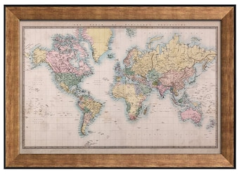 Pastel wall art map etsy wall26 antique world map in a pastel color scheme framed art prints 16x24 gumiabroncs Gallery