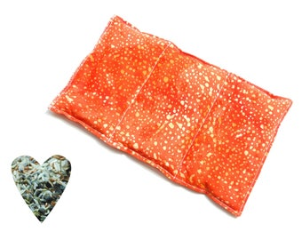 Hot cold pack, microwavable, aromatherapy, microwave heat pack, orange batik, freezer cold pack, flax seed, rice lavender buds, soothing