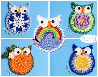 CROCHET PATTERN - Owl Through the Year - 5 owl patterns, winter owl, spring owl, summer owl, fall owl, & rainbow owl  - Instant PDF Download