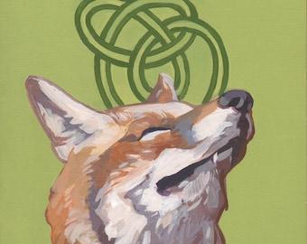 Green Knot Fox original acrylic painting