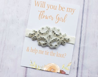 Flower Girl Headband, Flower Girl Proposal Gift, Will you Help me Tie The Knot, Rhinestone, Flower Girl Proposal Gift, Flower Girl Proposal